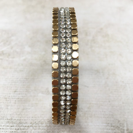 Hot Tomato Jewellery Gold and Silver Crystals Wrap Bracelet - EOL