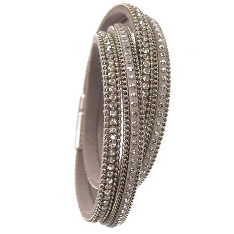 Hot Tomato Jewellery Double Wrap Silver Grey Bracelet