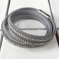 Hot Tomato Jewellery Double Wrap Silver Grey Bracelet