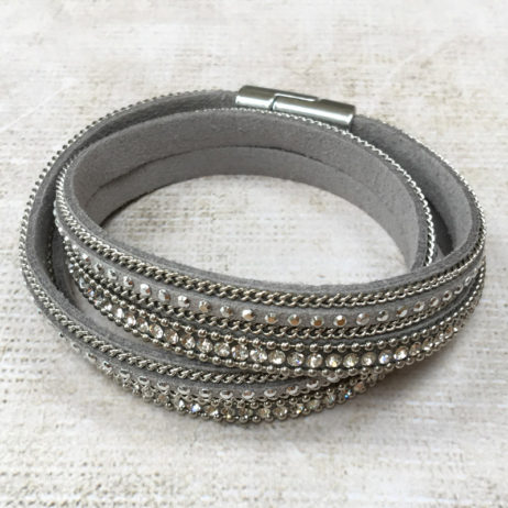 Hot Tomato Jewellery Double Wrap Silver Grey Bracelet - EOL