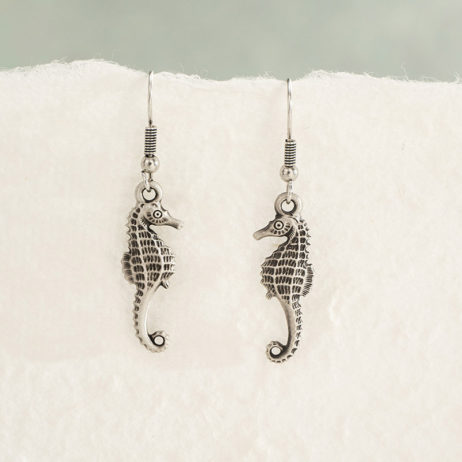 Danon Jewellery Silver Mini Seahorse Drop Earrings - EOL