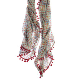 Hot Tomato Grey and Pink Soft Cotton Scarf