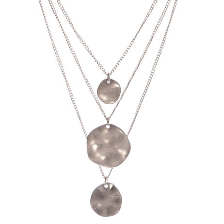 Hot Tomato Jewellery Silver Triple Layered Discs Necklace