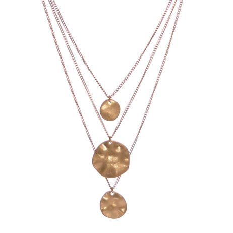 Hot Tomato Jewellery Gold Triple Layered Discs Necklace