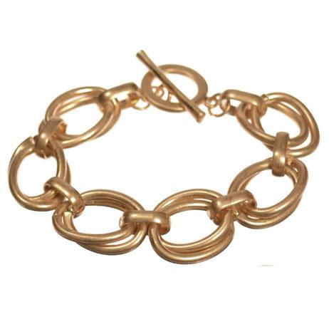 Hot Tomato Jewellery Matt Gold Links Bracelet