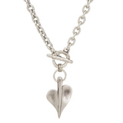 Danon Jewellery Silver Leaf of Love T-Bar Necklace