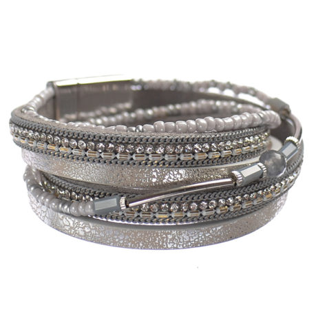 Hot Tomato Jewellery Silver Double Wrap Bracelet