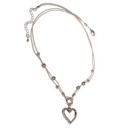 Hot Tomato Jewellery Crystal Heart Silver Necklace