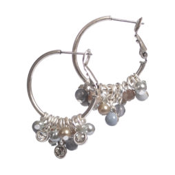 Hot Tomato Jewellery Silver Hoop Earrings with Grey Pearls