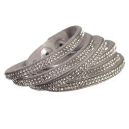 Hot Tomato Jewellery Double Wrap Silver Grey Sparkle Bracelet