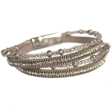 Hot Tomato Jewellery Silver Grey Double Wrap Bracelet with Crystals