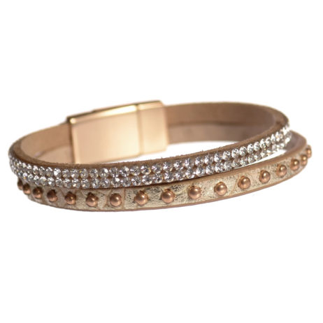 Hot Tomato Jewellery Gold Rivets and Crystals Wrap Bracelet - EOL