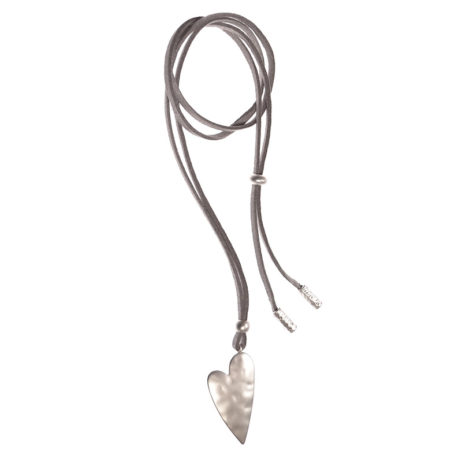 Hot Tomato Jewellery Matt Silver Adjustable Heart Necklace