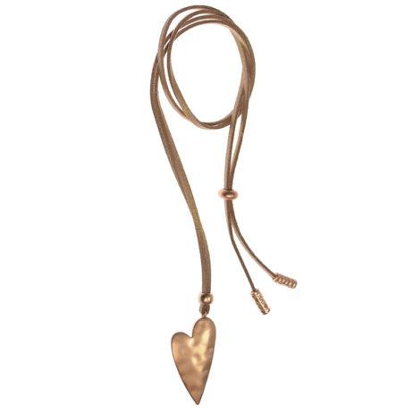 Hot Tomato Jewellery Matt Gold Adjustable Heart Necklace