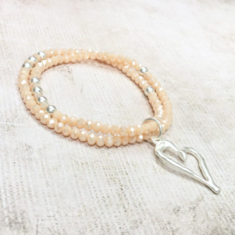 Hot Tomato Jewellery Silver Heart Double Bracelet
