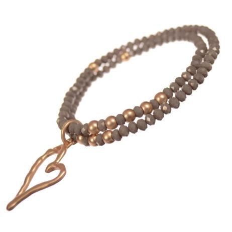Hot Tomato Jewellery Gold Heart Double Bracelet