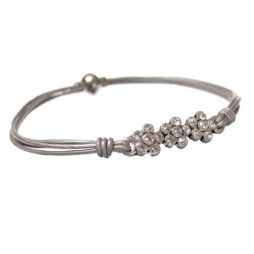 Hot Tomato Jewellery Silver Grey Daisy Bracelet