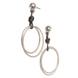 Hot Tomato Jewellery Matt Silver Double Hoop Earrings