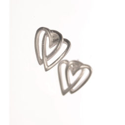 Hot Tomato Jewellery Matt Silver Layered Heart Studs