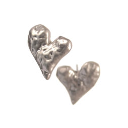 Hot Tomato Jewellery Matt Silver Molten Heart Studs