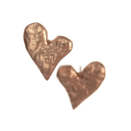 Hot Tomato Jewellery Matt Gold Molten Heart Studs