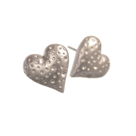 Hot Tomato Jewellery Matt Silver Lava Heart Stud Earrings