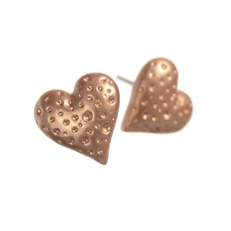 Hot Tomato Jewellery Matt Gold Lava Heart Stud Earrings