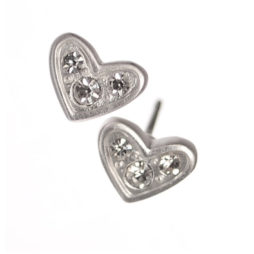 Hot Tomato Jewellery Silver Crystal Trilogy Heart Stud Earrings