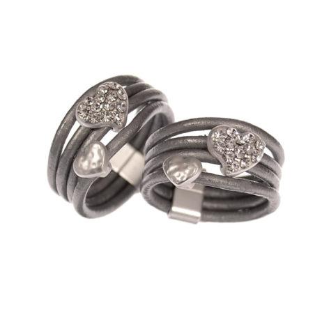 Hot Tomato Jewellery Matt Silver Grey Hearts Ring