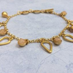 Sence Copenhagen Gold Summer Rain Bracelet with Rose Quartz