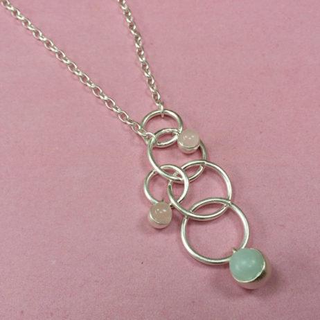 Sence Copenhagen Long Silver Dream Catcher Necklace Rose Quartz