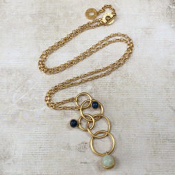 Sence Copenhagen Long Gold Dream Catcher Necklace Blue Aventurine