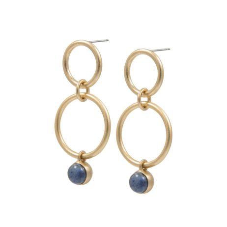 Sence Copenhagen Gold Dream Catcher Double Hoop Earrings with Blue Aventurine