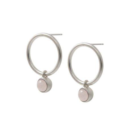 Sence Copenhagen Silver Dream Catcher Hoop Earrings with Rose Quartz