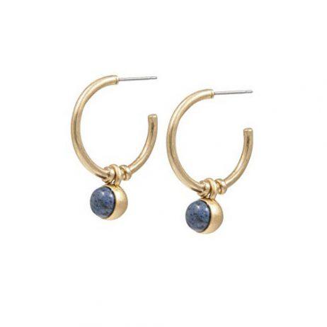 Sence Copenhagen Gold Dream Catcher Hoop Earrings with Blue Aventurine