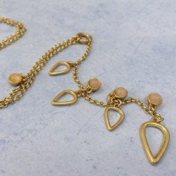 Sence Copenhagen Gold Summer Rain Necklace with Rose Quartz
