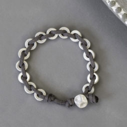Tutti and Co Jewellery Silver Suede Plaited Bracelet