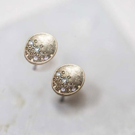 Tutti and Co Jewellery Lorna Dot And Crystal Gold Disc Stud Earrings