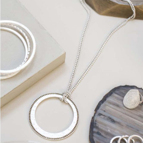 Tutti and Co Jewellery Tia Short Dotted Edge Silver Pendant Necklace
