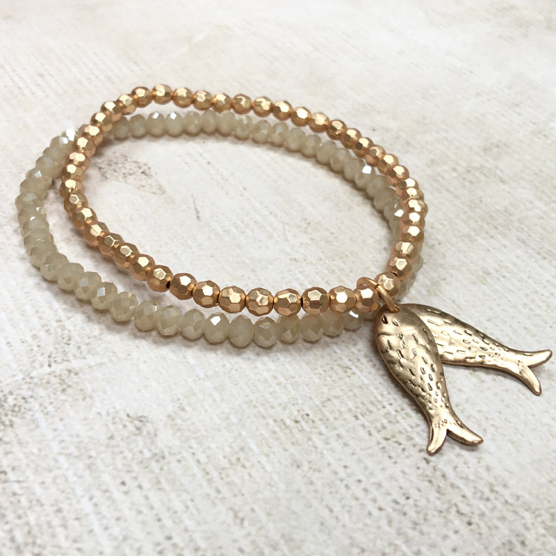 tomato jewellery gold fish charm bracelet lizzielane