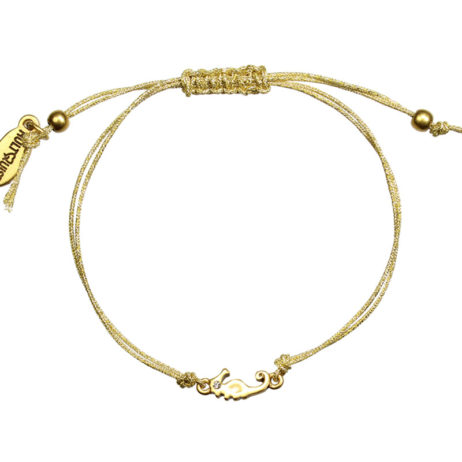Hultquist Jewellery Gold Seahorse Macrame Bracelet with Crystal