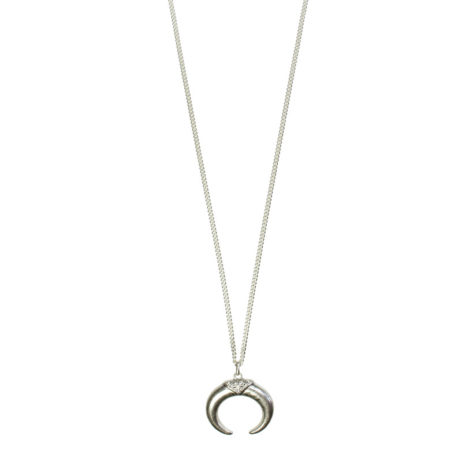 Hultquist Jewellery Silver Horn Pendant Necklace with Crystals