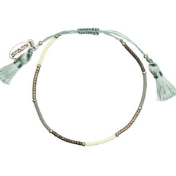 Hultquist Jewellery Silver Macrame Bracelet with Grey Japanese Beads