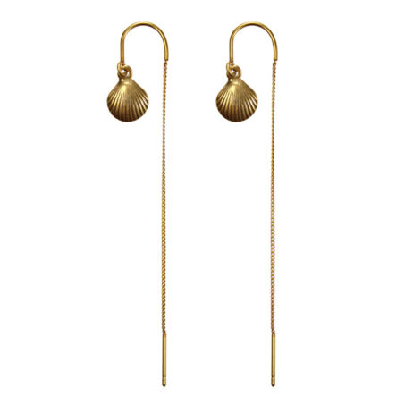 Hultquist Jewellery Gold Hook Earring with Chain and Seashell