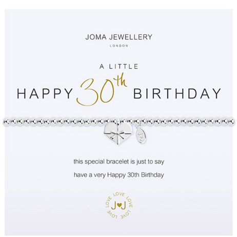 Joma Jewellery a little HAPPY 30TH BIRTHDAY Silver Bracelet 1961