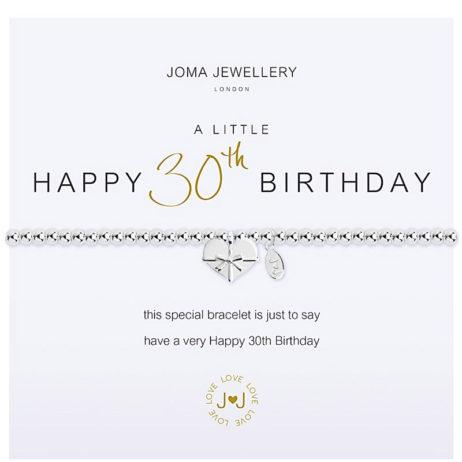 Joma Jewellery a little HAPPY 30TH BIRTHDAY Silver Bracelet 1961