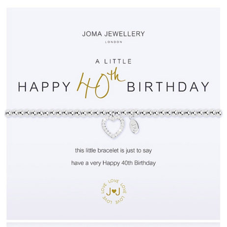 Joma Jewellery a little HAPPY 40TH BIRTHDAY Silver Bracelet 2073