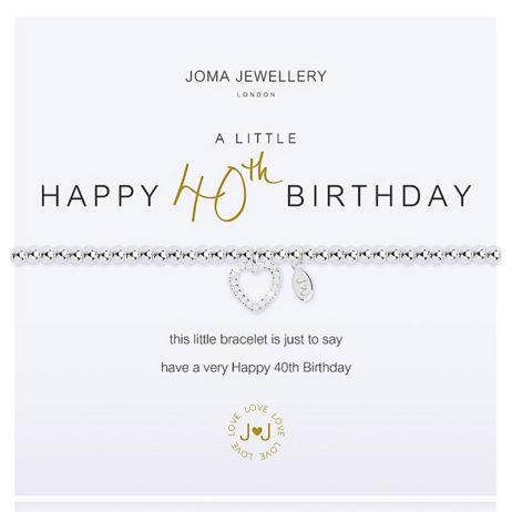 Joma Jewellery a little HAPPY 40TH BIRTHDAY Silver Bracelet