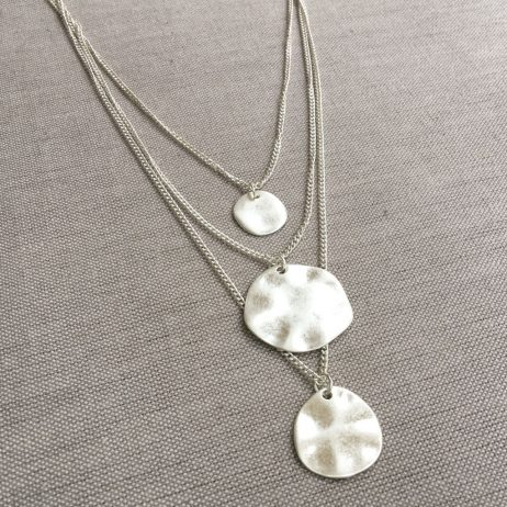 Hot Tomato Jewellery Silver Triple Layered Discs Necklace - EOL