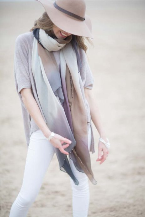 Tutti and Co Beaded Tonal Handpainted Scarf